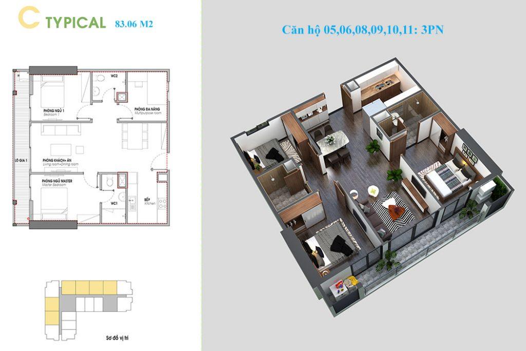 Thiết kế căn hộ 5 - 6 - 8 - 9 - 10 và 11 An bình Plaza