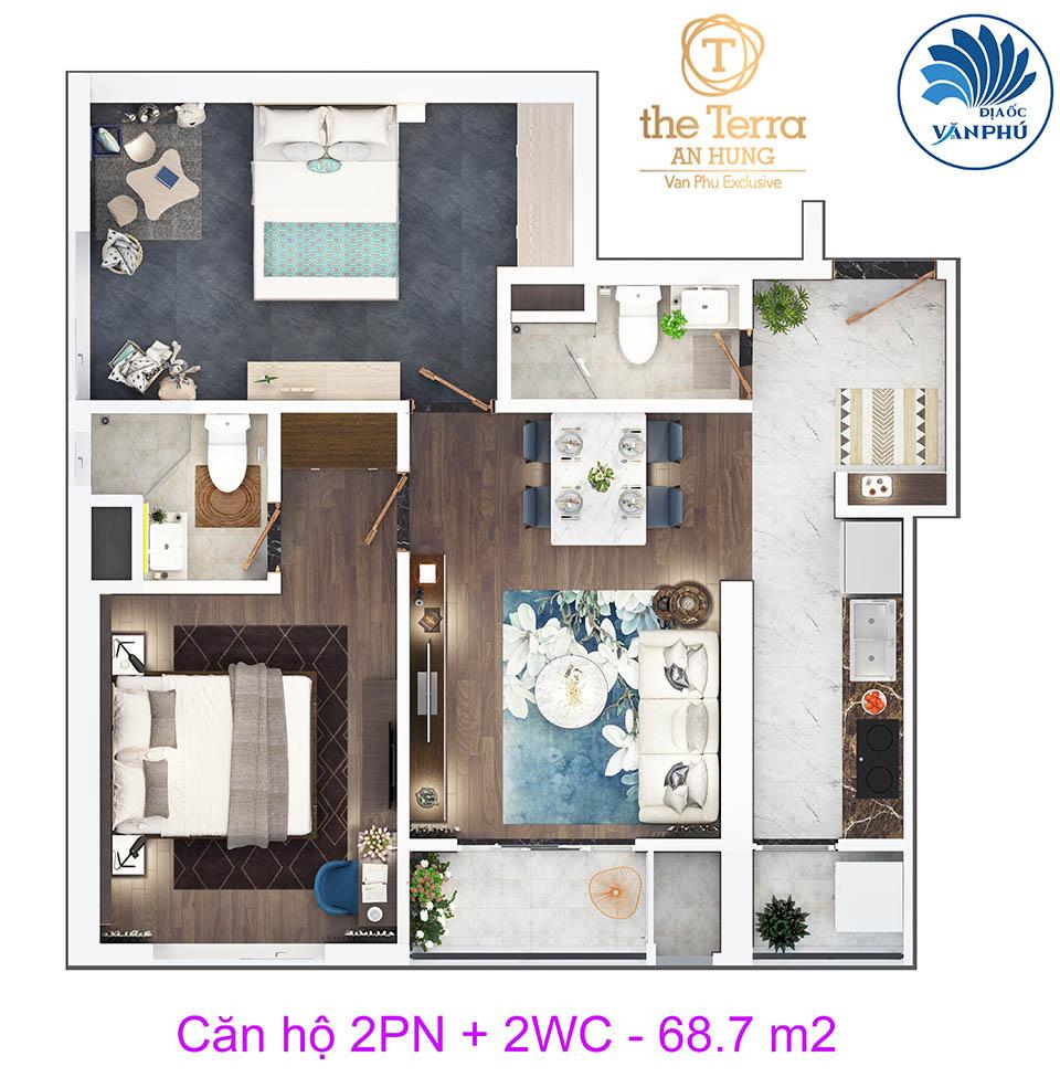 Mặt bằng căn hộ 2 phòng ngủ 68 m2 chung cư The Terra