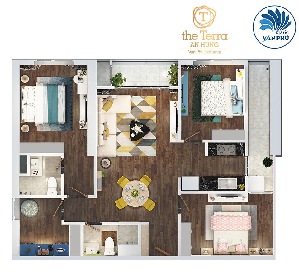 phòng ngủ 96 m2 chung cư The Terra An Hưng