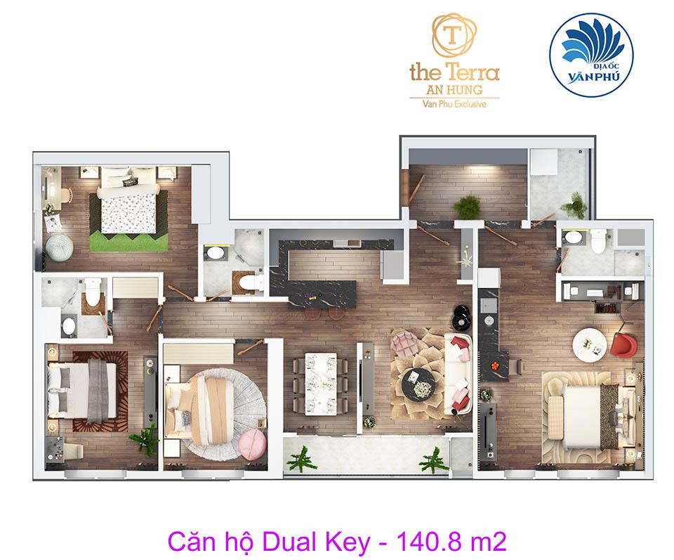 thiết kế căn hộ 4 phòng ngủ the terra an hưng