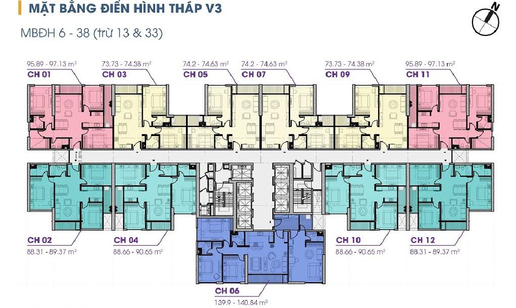 Mặt bằng tầng 6 - 38 tòa V3 Terra