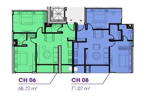 Mặt bằng tầng 39 - 45 tòa Terra An Hưng