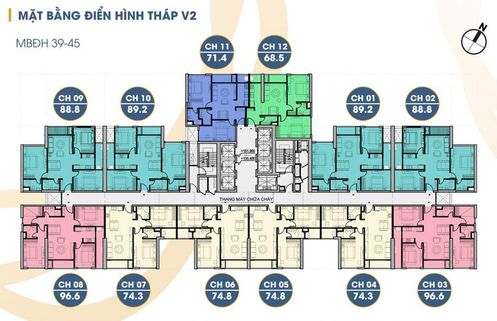 mặt bằng tòa v2 tầng 39 - 45