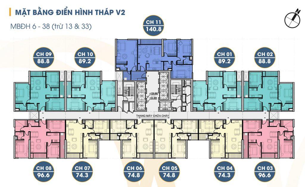 mặt bằng tòa v2 tầng 6 đến 38
